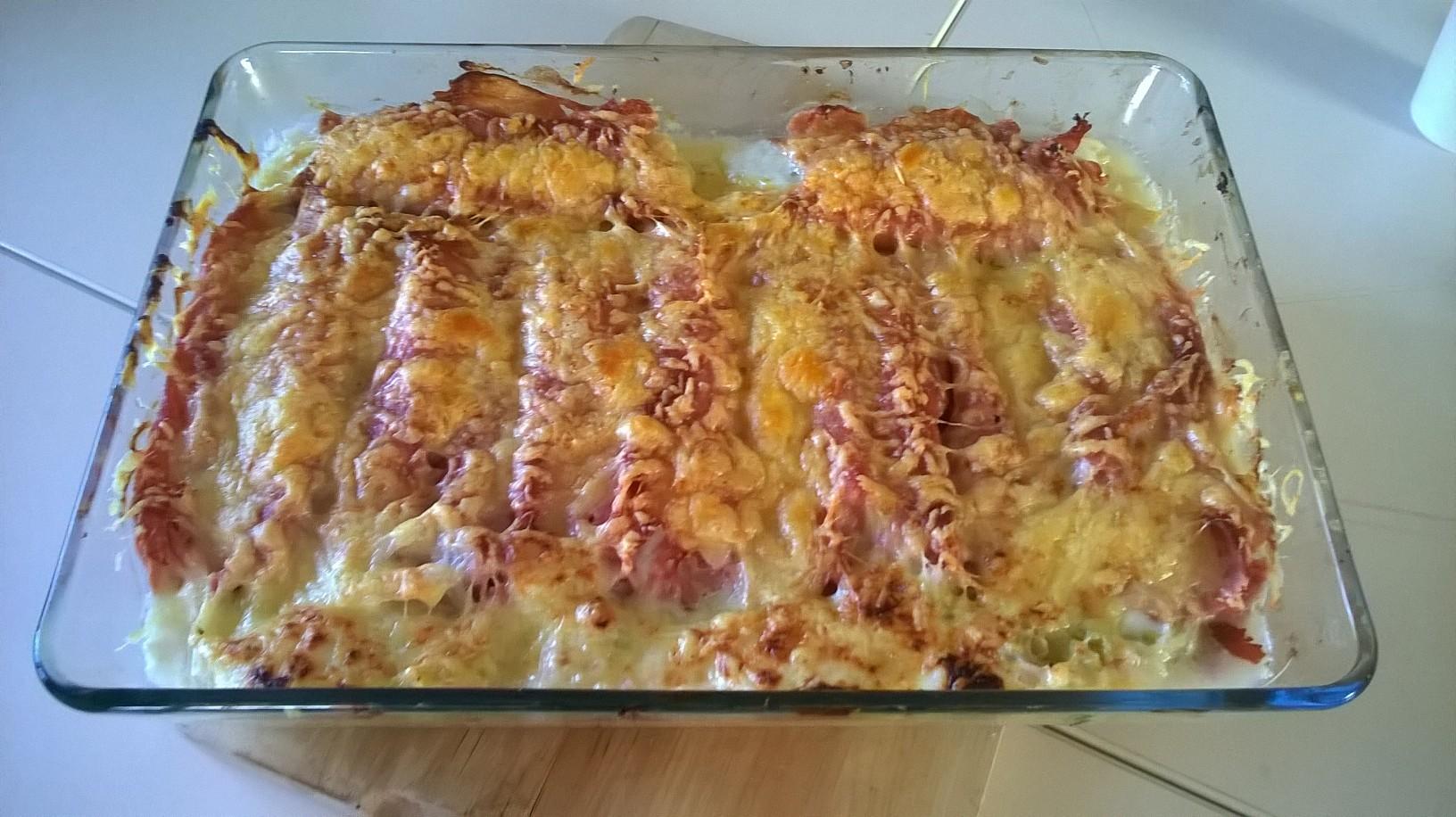 Roulé de jambon gratinés aux poireaux